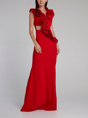 Red Rose Detail Crepe Maxi Dress