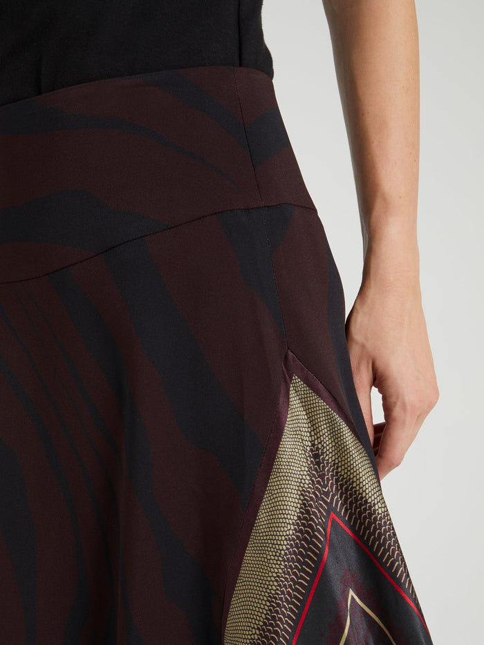 Animal Print Asymmetric Midi Skirt