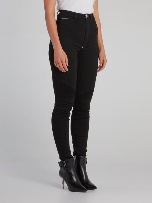 Black Super High Waist Biker Jeans