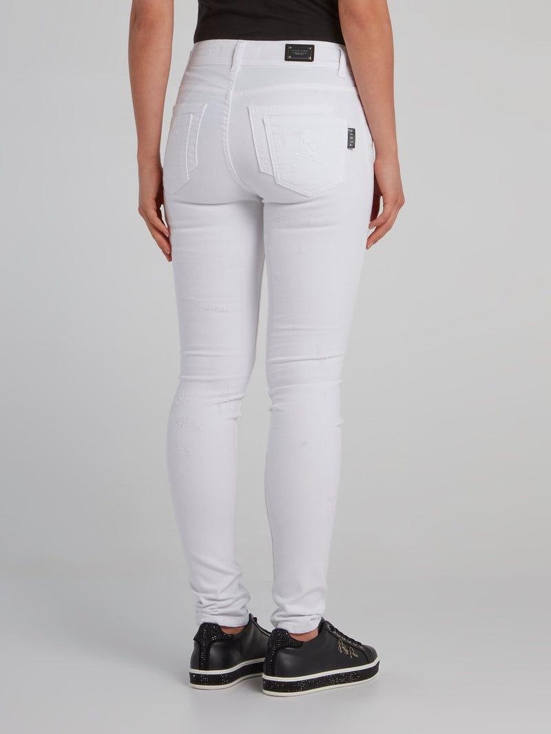White Semi-Distressed Skinny Jeans