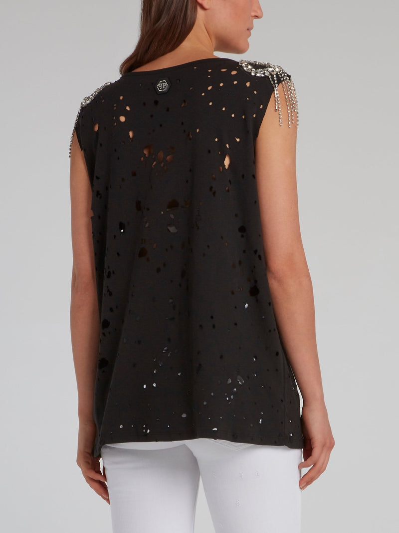 Black Crystal Embellished Ripped Top