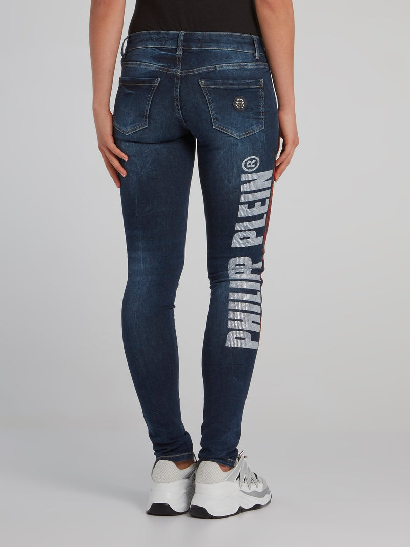 Flame Studded Slim Fit Jeans