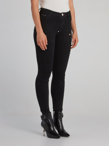 Black Semi-Distressed Skinny Jeans