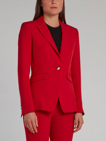 Red Rear Studded Skull Blazer