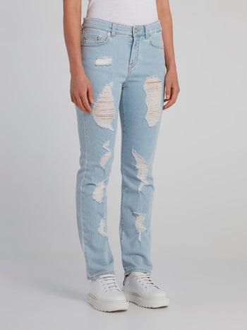 Blue Tattered Denim Jeans