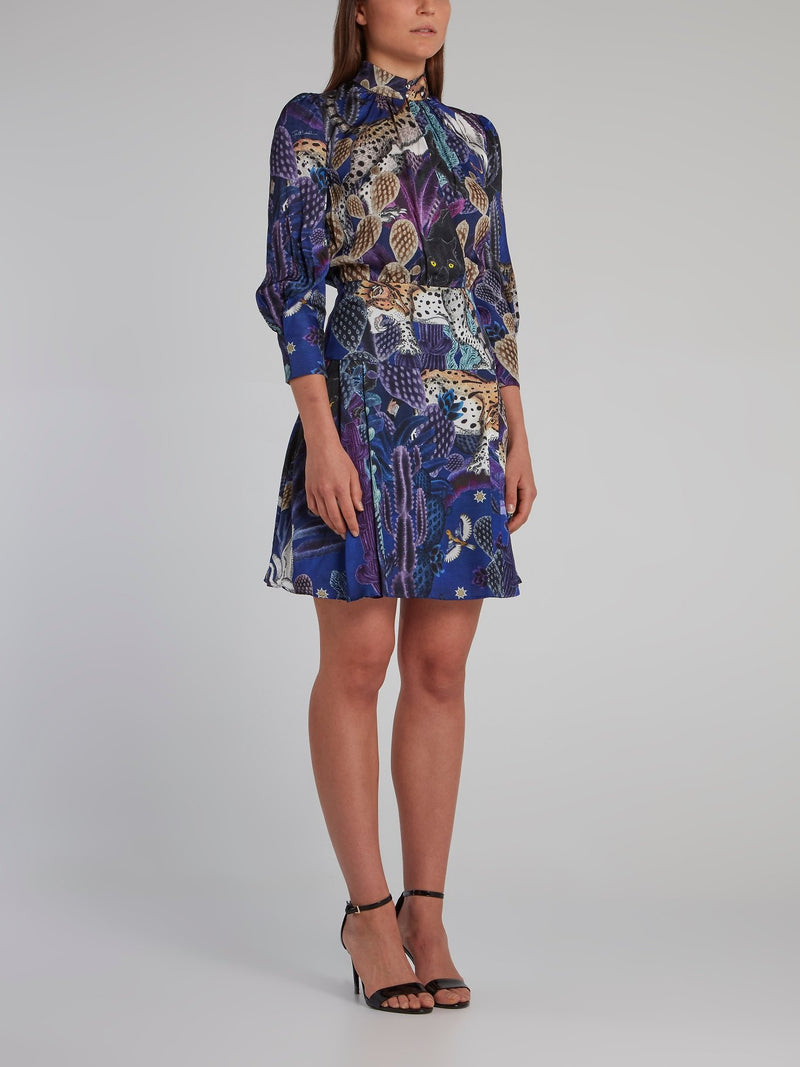 Multi Print Blouson Dress