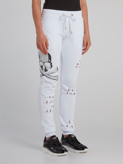 White Skull Distressed Jogging Trousers