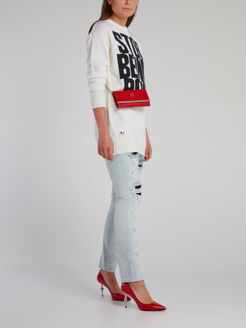 White Ribbed Edge Statement Pullover