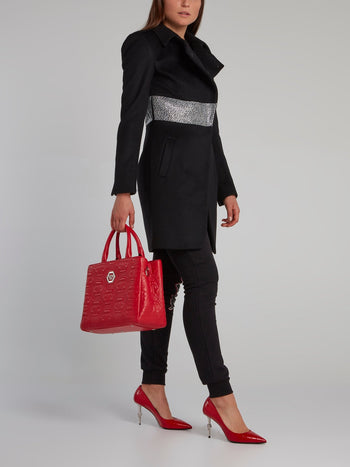 Black Crystal Studded Long Coat