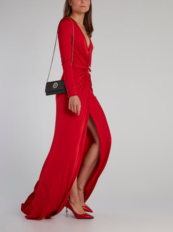 Red Draped Plunge Maxi Dress