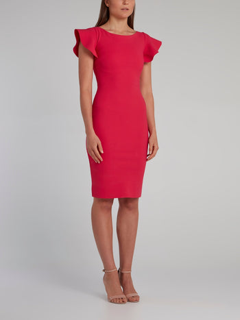 Pink Flap Sleeve Bodycon Dress