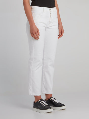 White Straight Cut Frayed Jeans