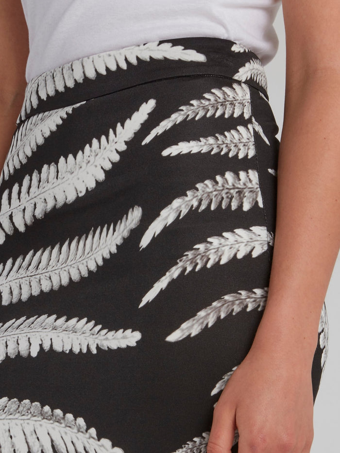 Leaf Print Rear Slit Column Skirt