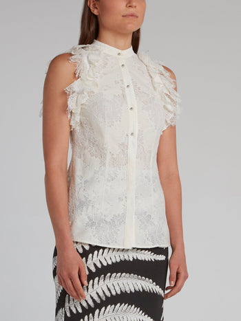 White Ruffle Lace Top