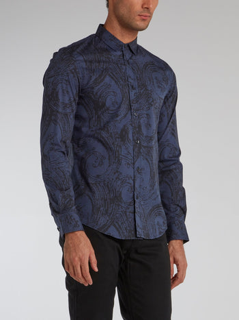Navy Printed Long Sleeve Shirt