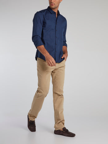 Khaki Straight Cut Trousers