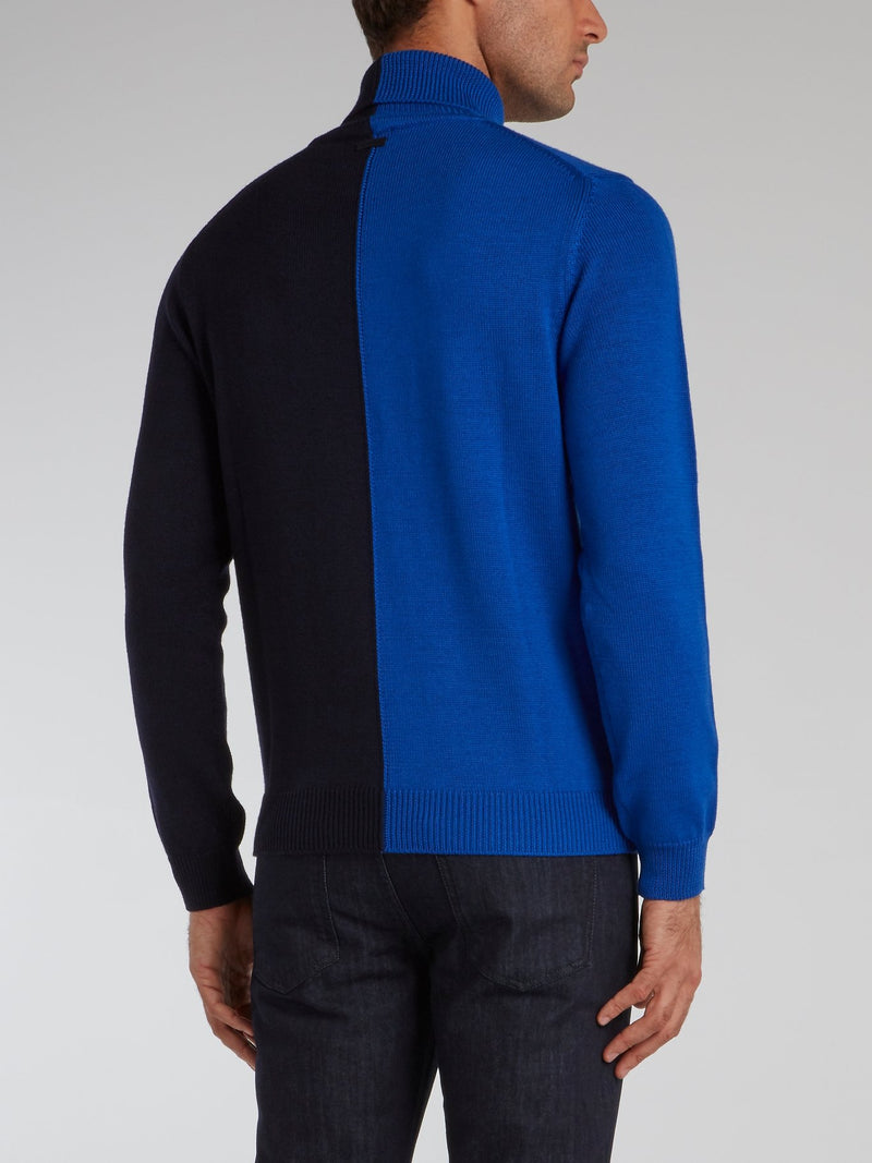Two Tone Turtleneck Sweater