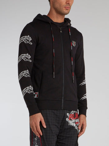 Black Tiger Print Sweat Jacket