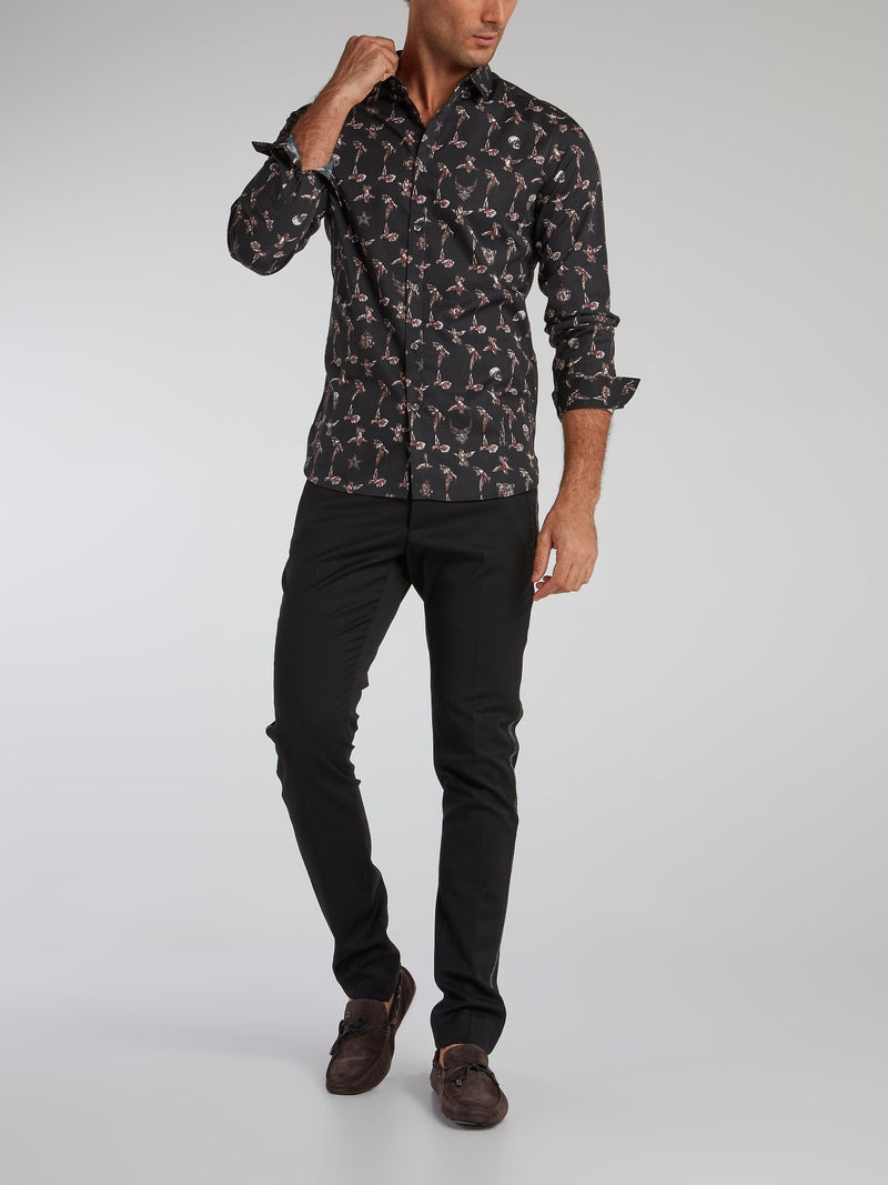 Skull and Hummingbird Print Shirt