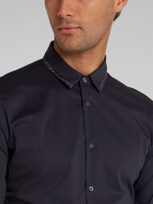 Navy Detailed Collar Button Up Shirt