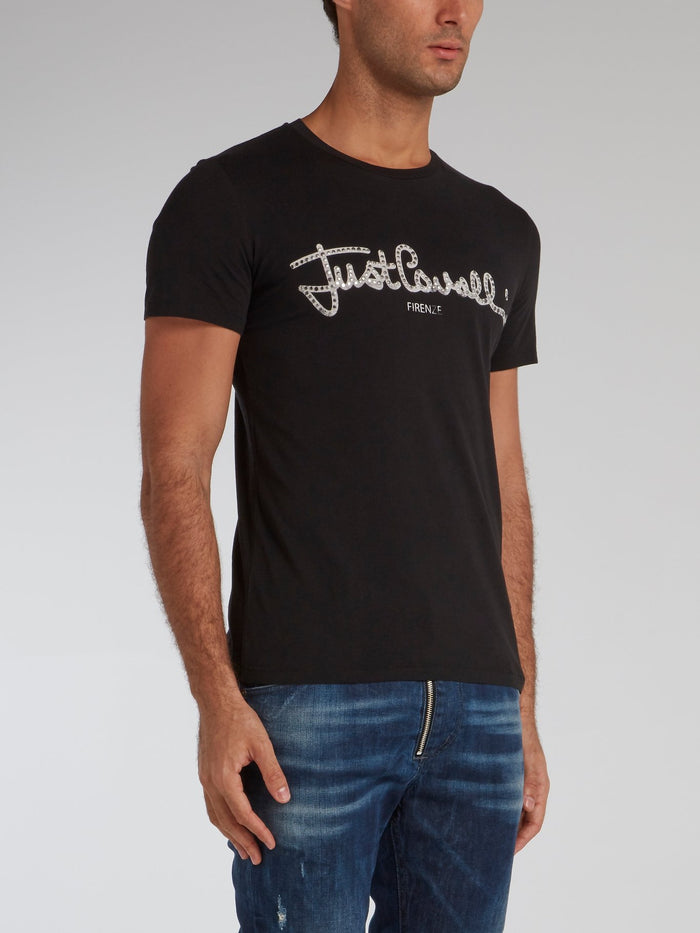 Black Studded Signature Logo T-Shirt