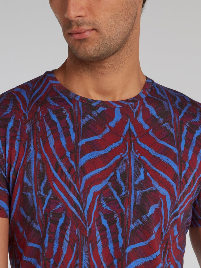 Purple Jacquard Pattern T-Shirt