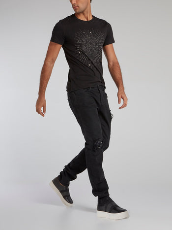 Black Multi-Stud Crewneck T-Shirt