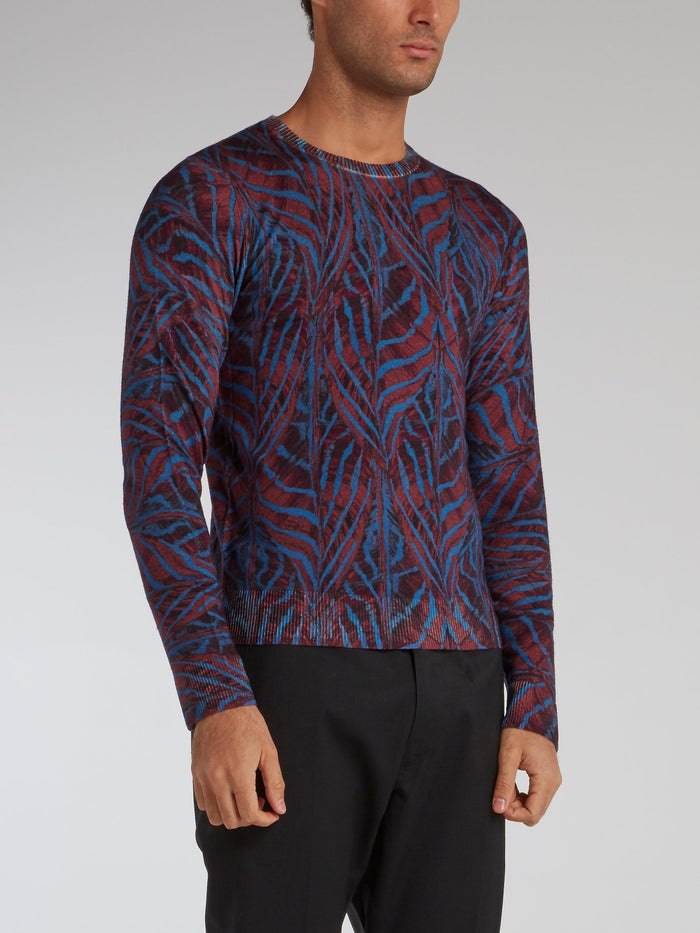 Purple Jacquard Pattern Pullover