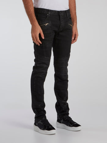 Black Distressed Zip Pocket Jeans