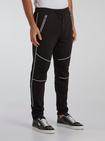 Black Contrast Lining Track Trousers