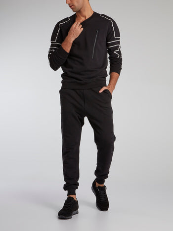 Black Drawstring Track Trousers