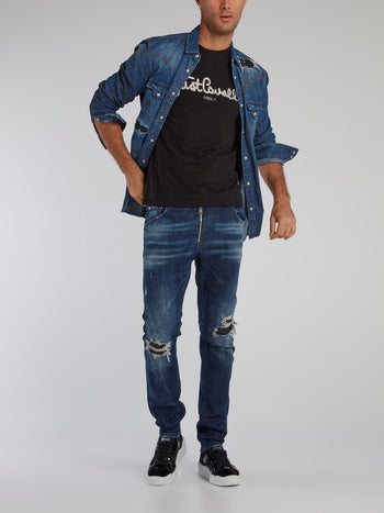 Blue Studded Panel Distressed Shirt