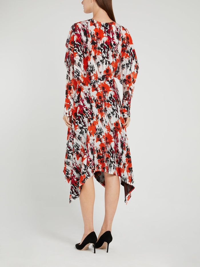 Floral Splatter Ruffle Midi Dress