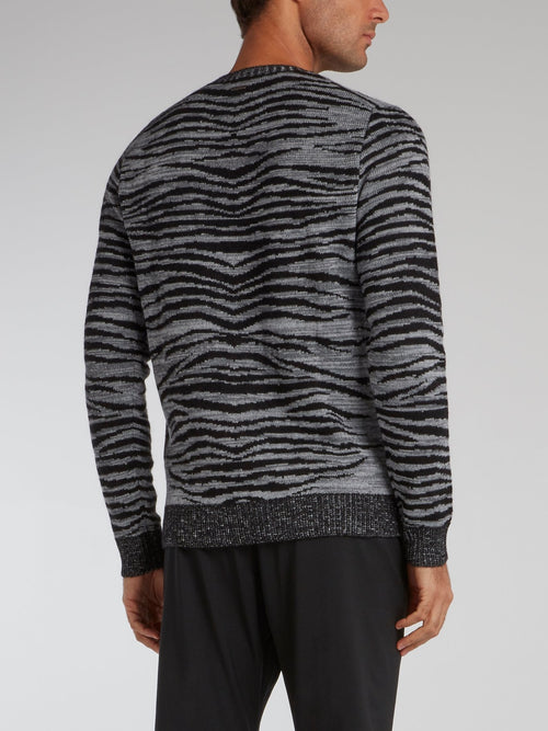 Grey Animal Pattern Knit Pullover
