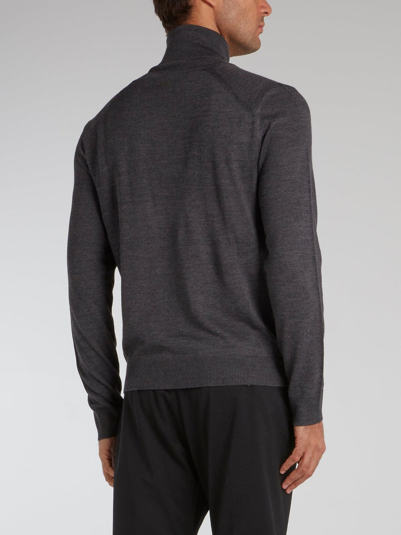 Grey Zip Detail Turtleneck Pullover