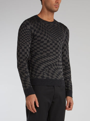 Black Check Knitted Pullover