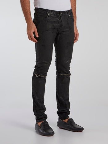 Black Zip Knee Slim Fit Jeans