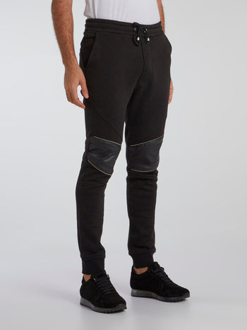 Black Leather Knee Track Pants
