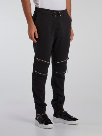 Black Zip Knee Track Pants