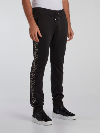 Black Side Studded Track Pants