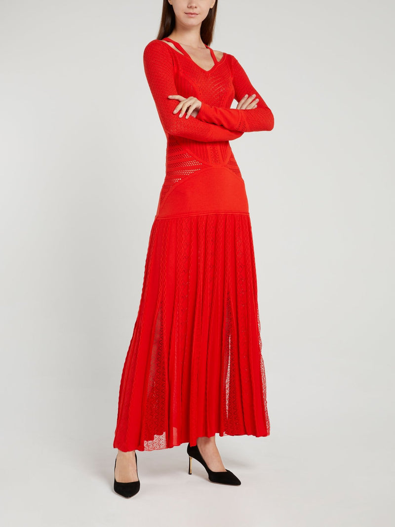 Red Lace Pattern Knitted Maxi Dress