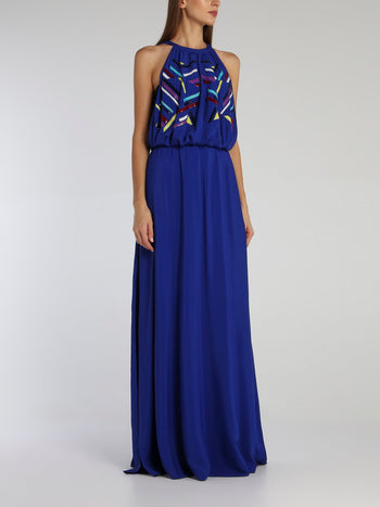 Blue Sequin Detail Halter Dress