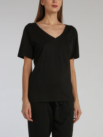 Black Rear Statement V-Neck Loose Top