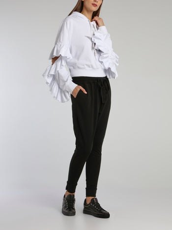 Black Studded Logo Harem Pants