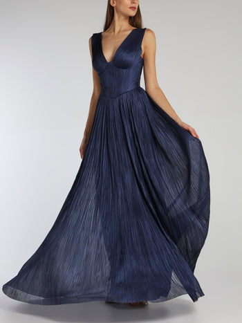 Elysia Navy Décolleté Maxi Dress