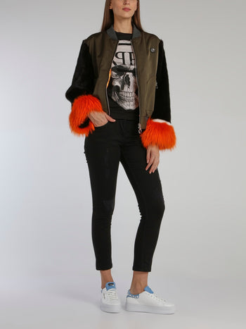 Fur Sleeve Statement Bomber Jacket