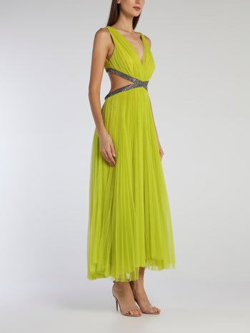 Juliet Green Tulle Midi Dress