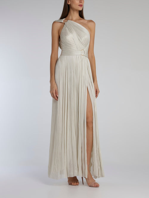 Kris White One-Shoulder Maxi Dress
