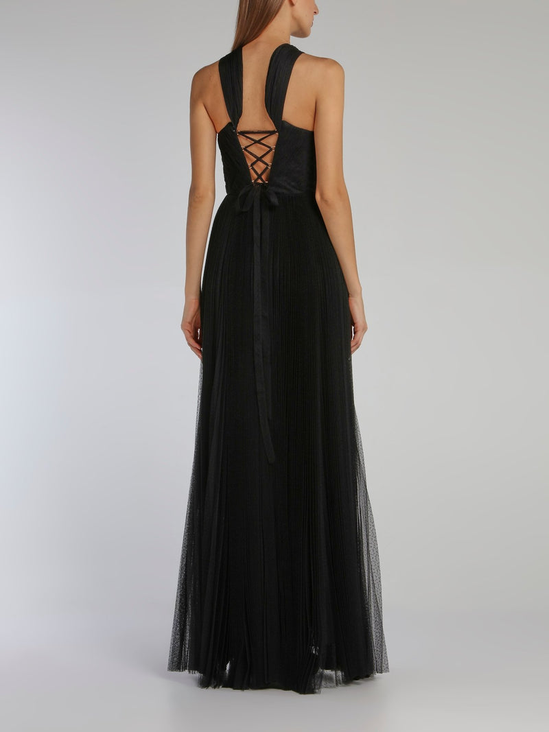 Luciana Black Tulle Maxi Dress