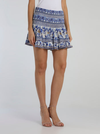 Blue Shirred Godet Mini Skirt